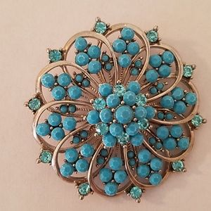 Accessories - Turquoise Blue Floral Brooch With Pin & Hook
